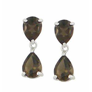 Smoky Quartz Teardrop Silver Earrings