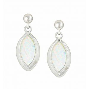 Marquise White Opal Silver Stud Earrings  | The Opal