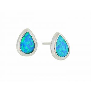 Blue Opal Teardrop Stud Earrings - 8mm