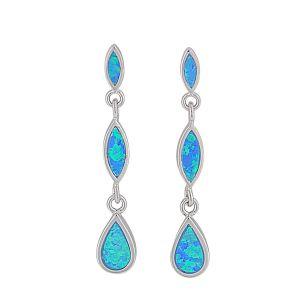 Teardrop and Marquise Opal Silver Earrings