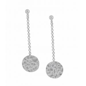 Hammered Disc on a Silver Chain Dangly Earrings | The Opal Jewellery