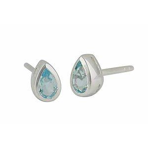 Blue Topaz Teardrop Silver Stud Earrings