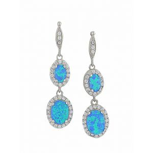 Blue Opal and Cubic Zirconia Long Earrings