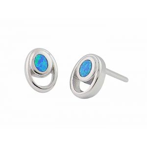 Blue Opal Oval Silver Stud Earrings