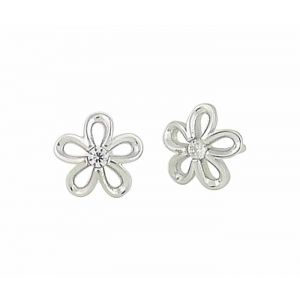 Flower and Single Cubic Zirconia Stud Earrings