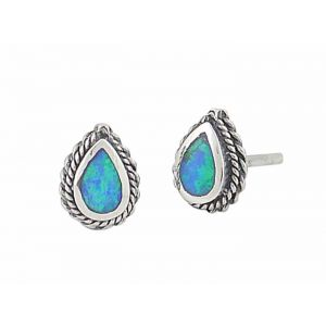Blue Opal Teardrop Rope Edge Silver Stud Earrings