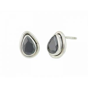 Step Design Black Onyx Teardrop Stud Earrings