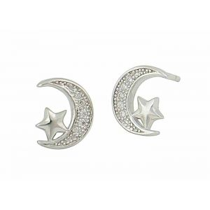 Cubic Zirconia Set Moon and Star Silver Earrings