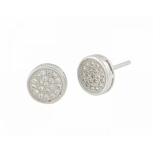 Cubic Zirconia Disc Silver Earrings
