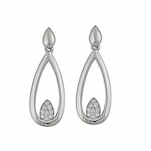Open Teardrop and Cubic Zirconia Silver Earrings