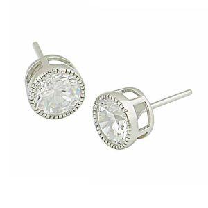 Single Cubic Zirconia Silver Stud Earrings