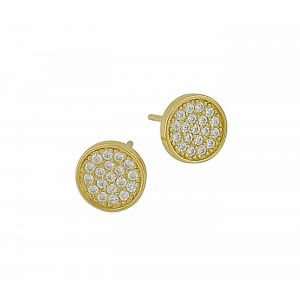 Cubic Zirconia Set Gold Plated Circle Stud Earrings