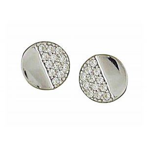 Plain and Cubic Zirconia Circle Silver Stud Earrings