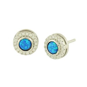 Blue Opal Twinkle Stud Earrings