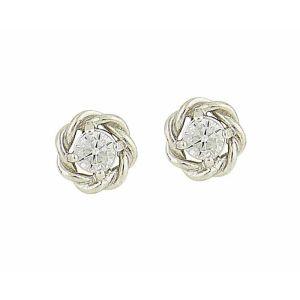 Braided Cubic Zirconia Sterling Silver Stud Earrings