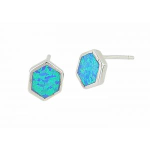 Hexagon Blue Opal Silver Studs