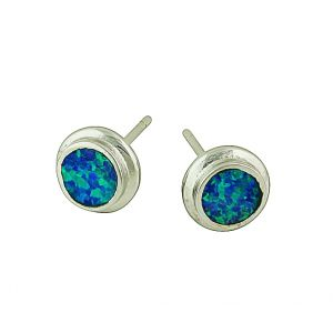 Blue Opal Wave Break Stud Earrings