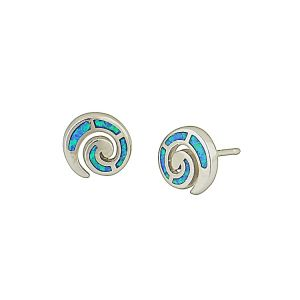 Spiral Blue Opal Stud Earrings