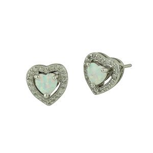 White Opal Sparkling Love Heart Silver Studs