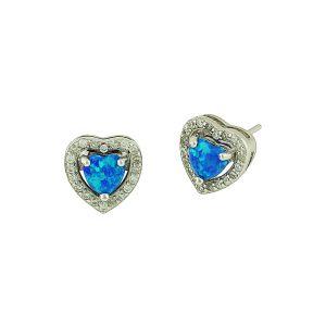 Blue Opal Sparkling Love Heart Silver Studs