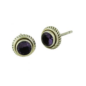 Rope Edged Amethyst Silver Studs