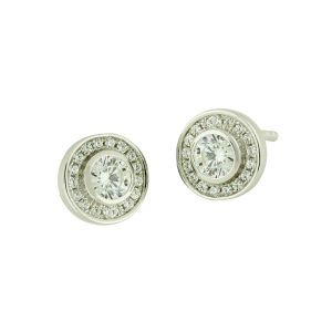 Cubic Zirconia Duet Sterling Silver Stud Earrings