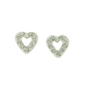 Sparkle Edge Heart Design Stud Earrings
