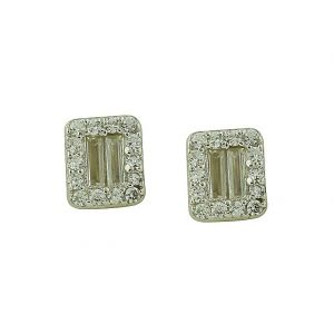 Cubic Zirconia Surround Rectangular Stud Earrings