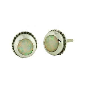White Opal Feature Stud Earrings