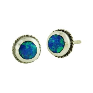 Blue Opal Feature Stud Earrings