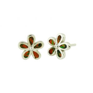 Black Opal Plumeria Flower Silver Stud Earrings