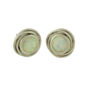 White Opal Cocoon Silver Stud Earrings