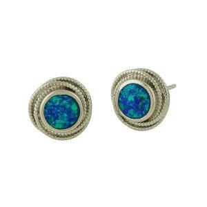 Blue Opal Cocoon Silver Stud Earrings