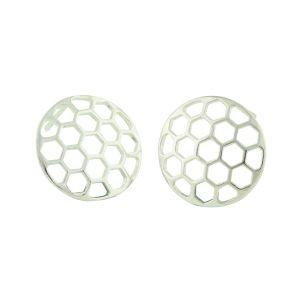 Honeycomb Silver Stud Earrings