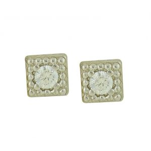 Cubic Zirconia Squared Silver Studs
