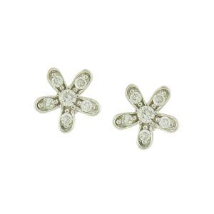 Sparkle Flower Silver Studs