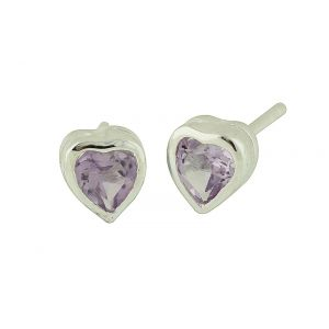 Heart Amethyst Stud Earrings