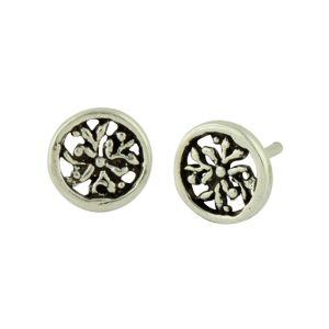 Ornate Detail Oxidized Circular Stud Earrings