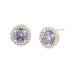 Amethyst and Cubic Zirconia Rimmed Silver Studs