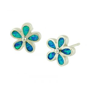 Blue Opal Plumeria Flower Silver Stud Earrings