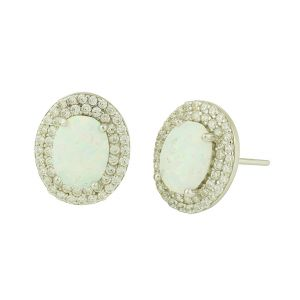 White Opal Cluster Studded Earrings