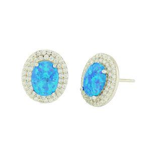 Blue Opal Cluster Studded Earrings