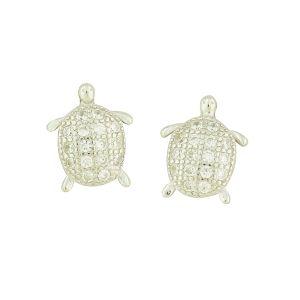 Silver Glimmer Turtle Studs