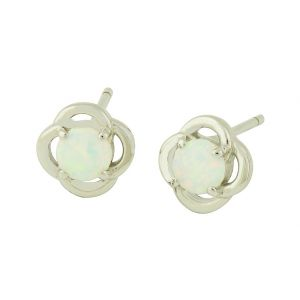 Fleur White Opal Stud Earrings