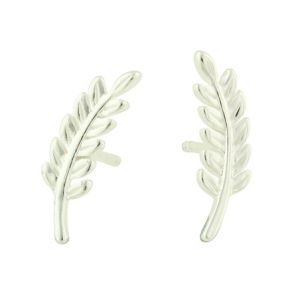Fern Silver Stud Earrings