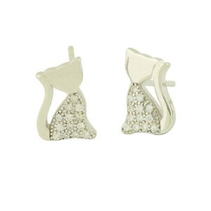 Cubic Zirconia Relaxed Cat Studs