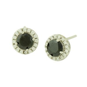 Black Onyx and Cubic Zirconia Rimmed Silver Studs