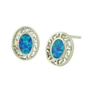 Script Blue Opal Stud Earrings
