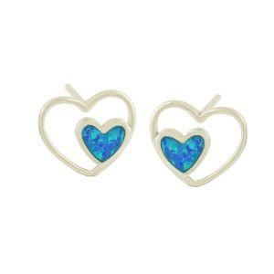 Twin Heart Blue Opal Stud Earrings