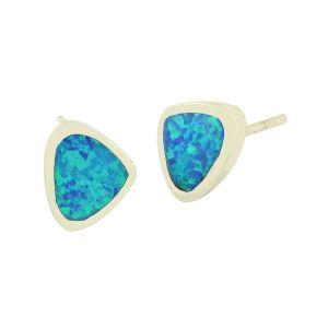 Blue Opal Silver Plectrum Earrings